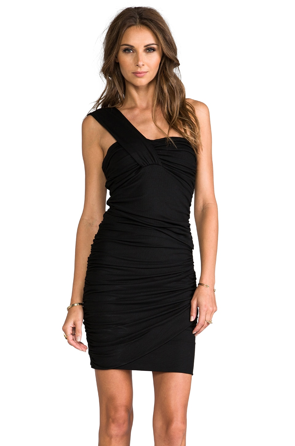 Torn by Ronny Kobo Stav Rib Dress in Black
