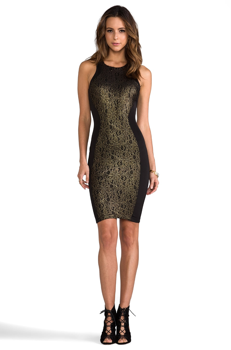 Torn by Ronny Kobo Shiran Dress in Gold/Black