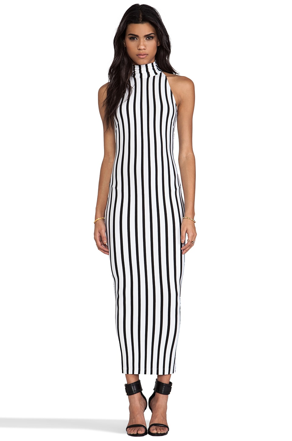 Torn by Ronny Kobo Claudia Long Dress in Black & White Combo