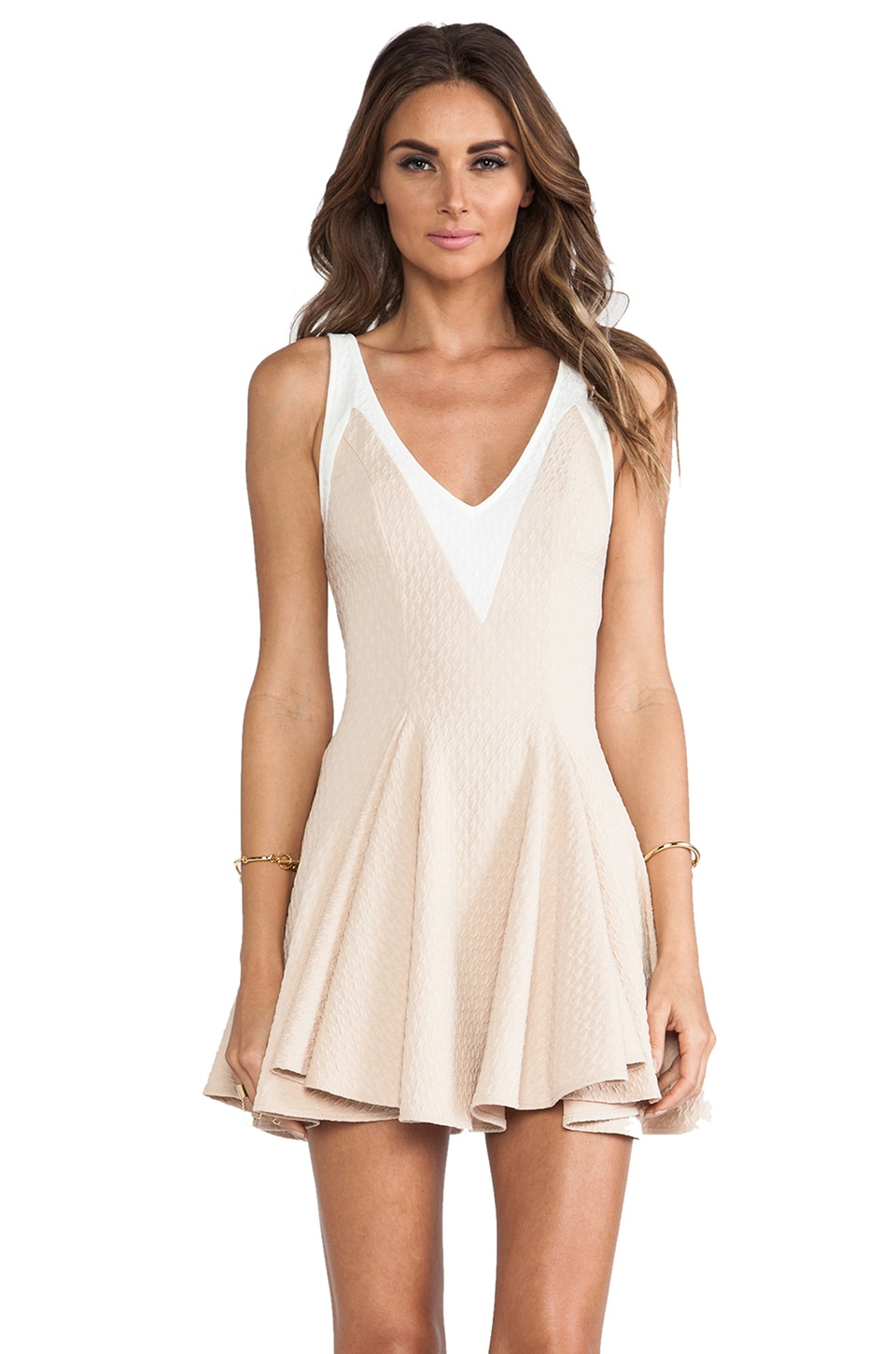 Torn by Ronny Kobo Hila Textured Dress in Toasted Almond/White