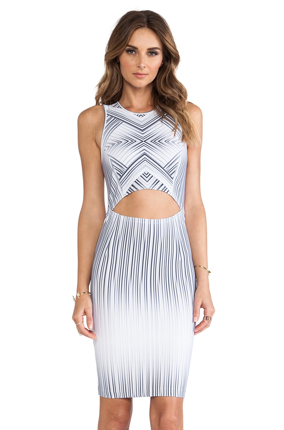 Torn by Ronny Kobo Yonal Maze Print Dress in Grey