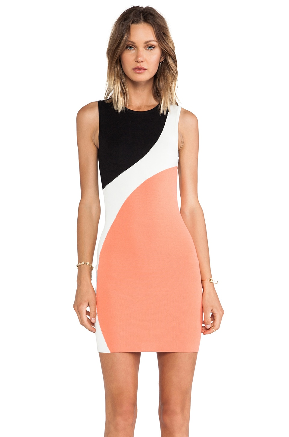Torn by Ronny Kobo Sarita Color Block Dress in Coral Combo