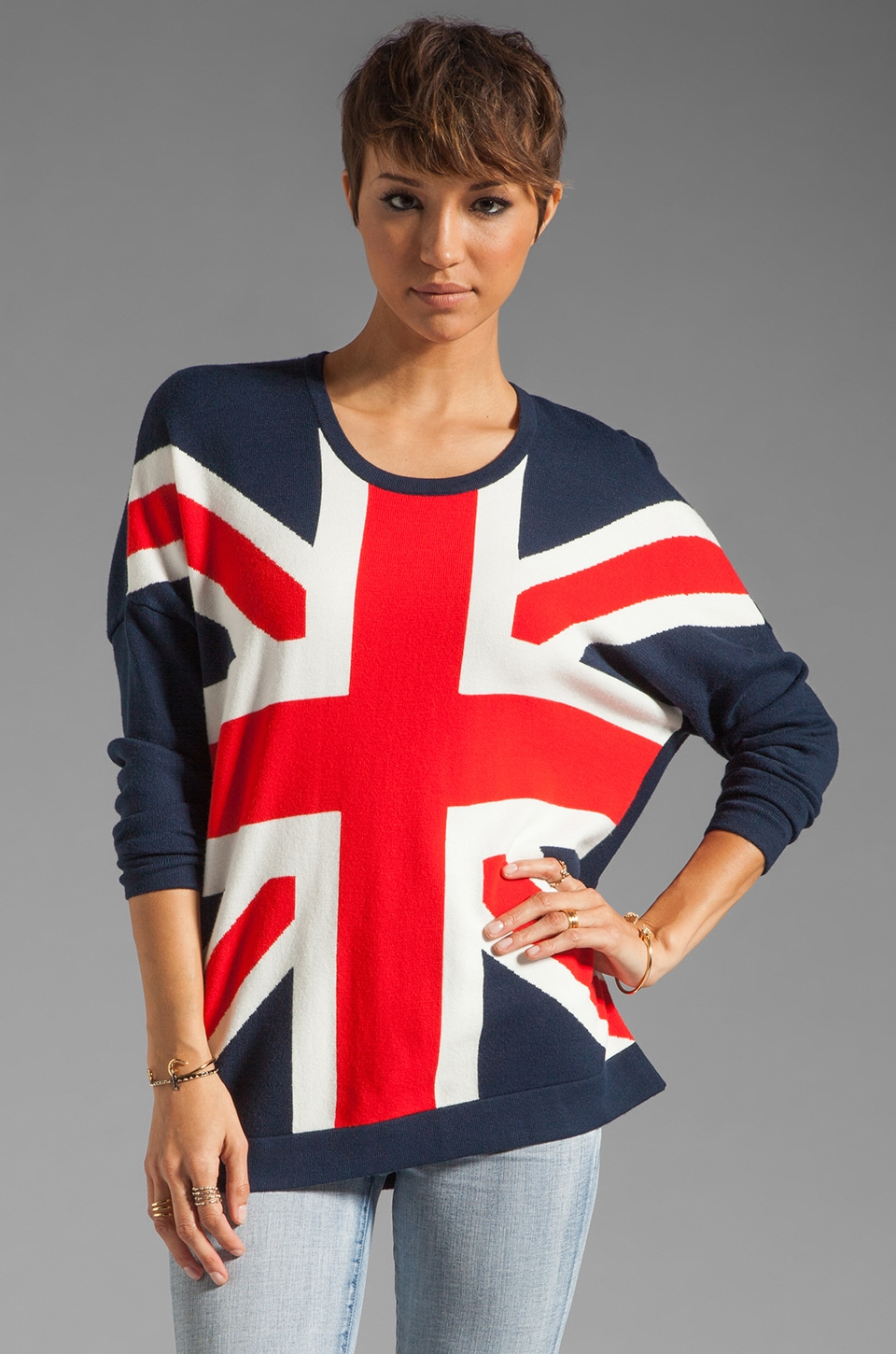 Torn by Ronny Kobo Anthea Union Jack Sweater in Navy