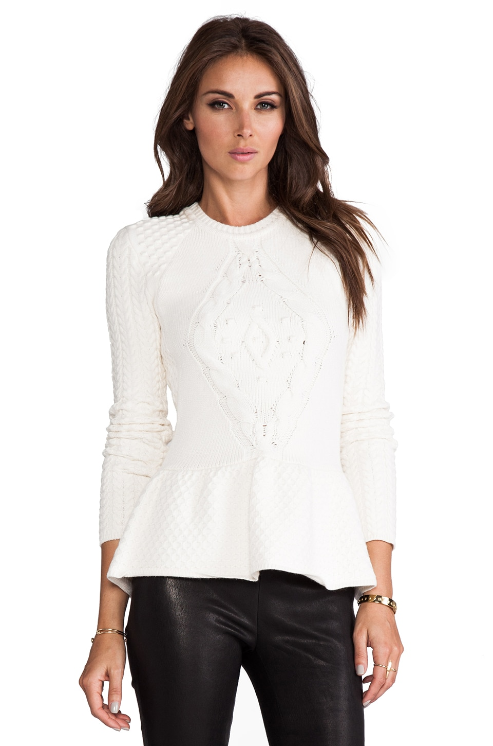 Torn by Ronny Kobo Layla Cable Knit Sweater in Ivory