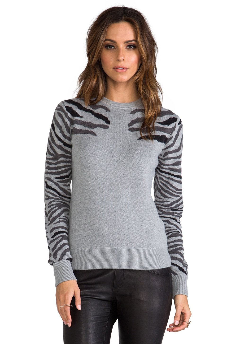 Torn by Ronny Kobo Shauna Zebra Knits Sweater in Grey