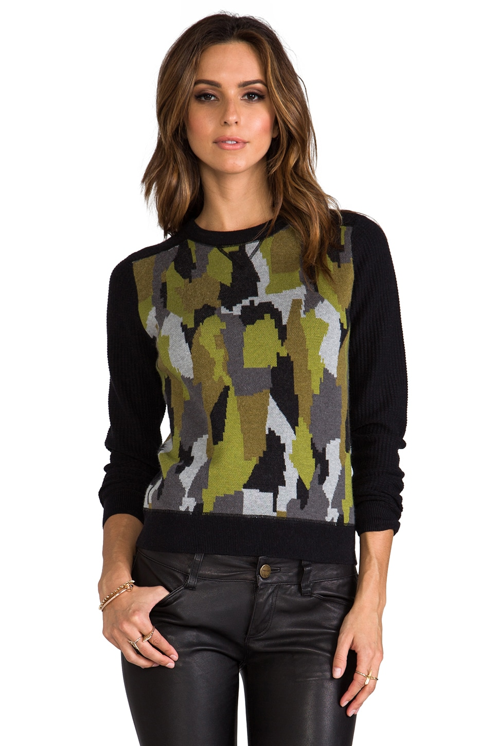 Torn by Ronny Kobo Kendra Camouflage Sweatshirt in Green