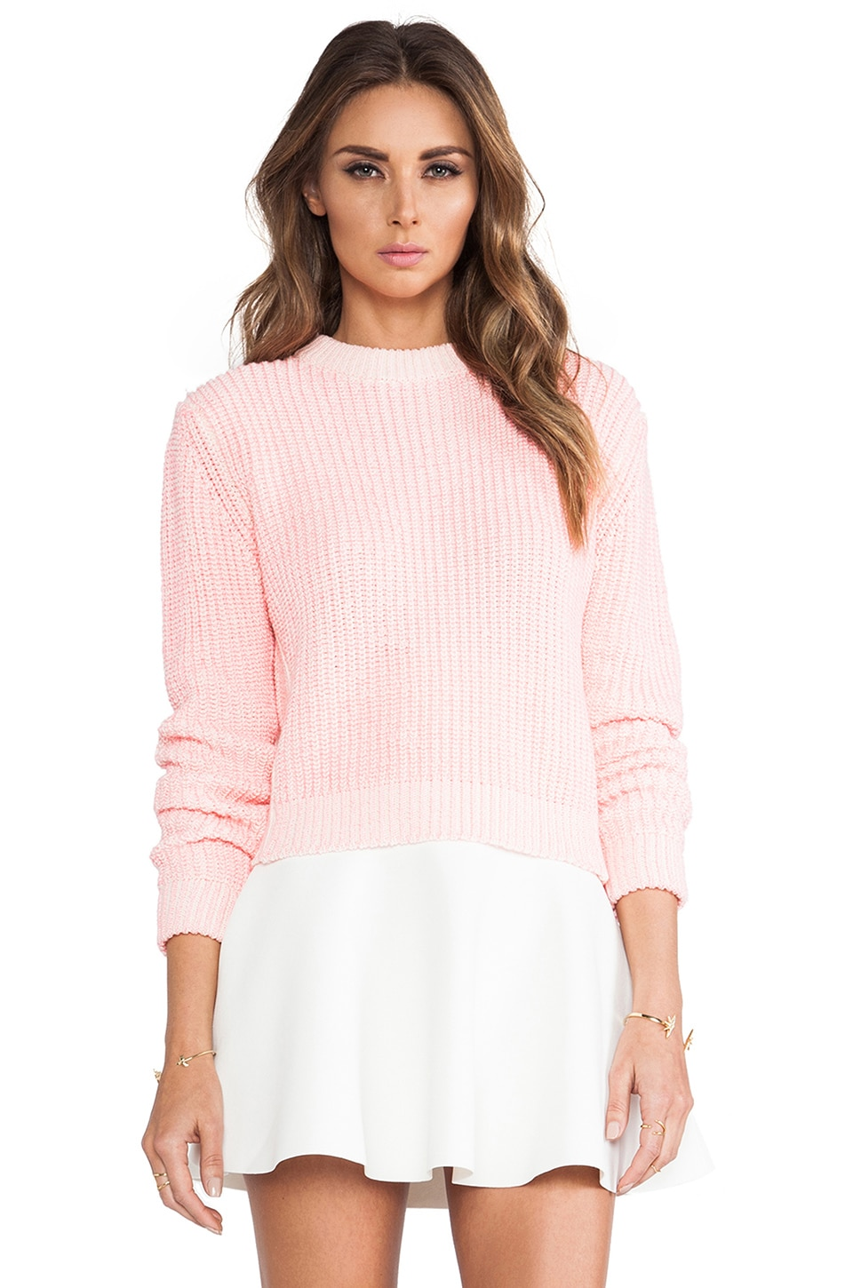 Torn by Ronny Kobo Brisa Chunky Sweater in Pink