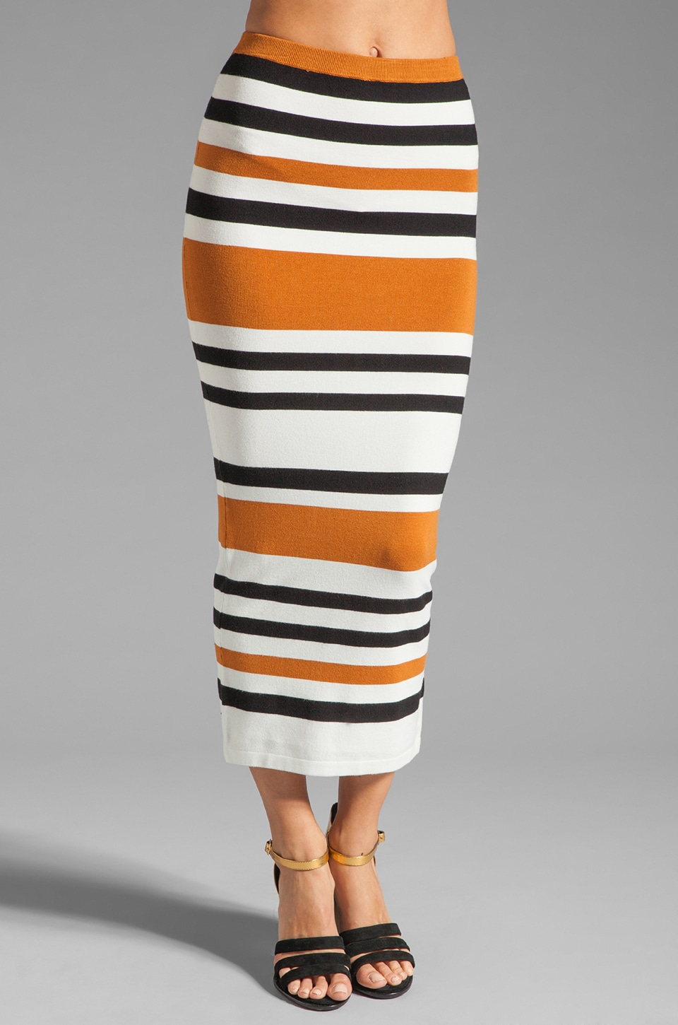 Torn by Ronny Kobo Ronny Cruise Stripe Skirt in White/Camel/Black