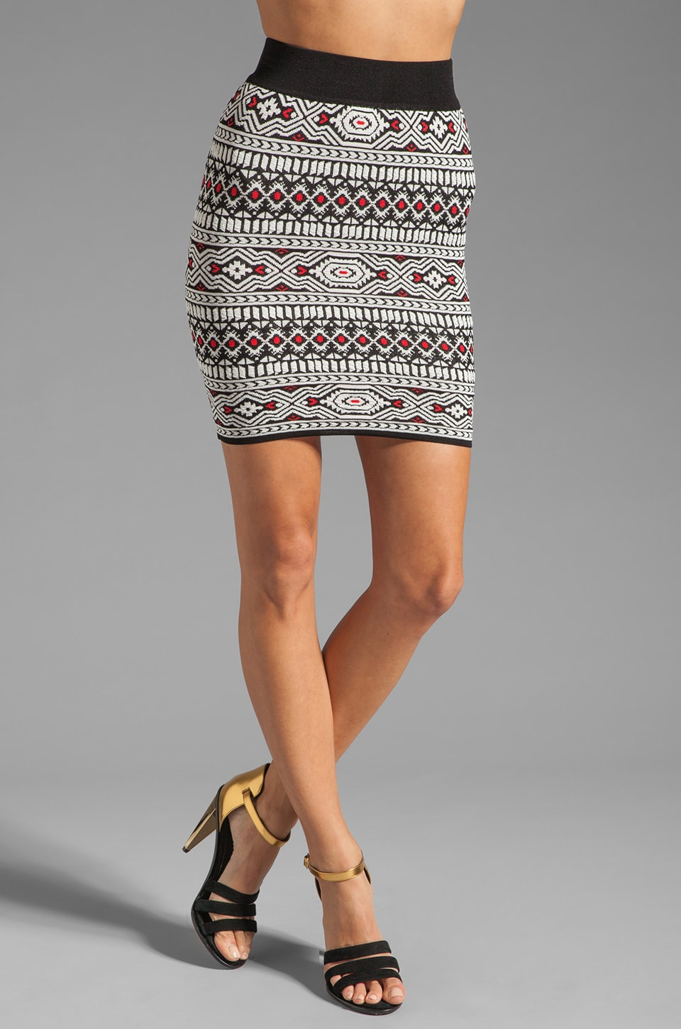 Torn by Ronny Kobo Celine Tribal Jacquard Skirt in Black