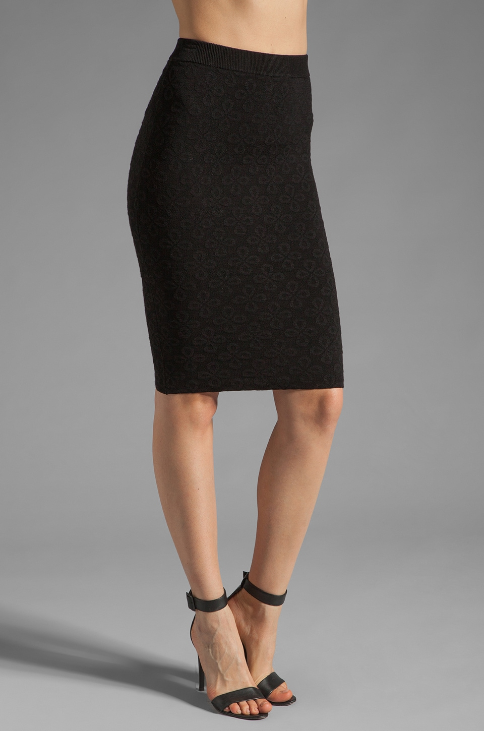 Torn by Ronny Kobo Celeste Eyelet Jacquard Skirt in Black