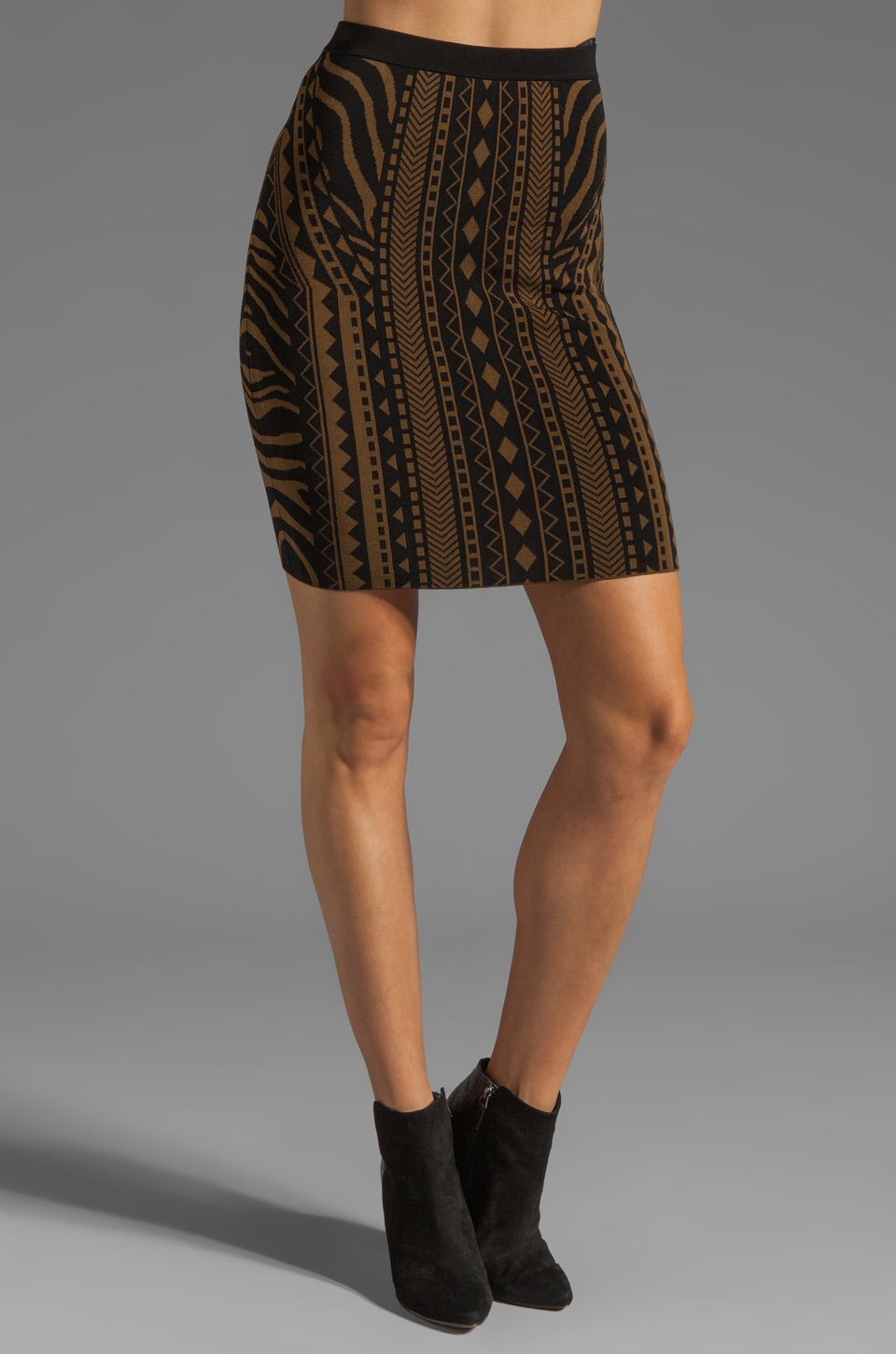 Torn by Ronny Kobo Celine Tribal Skirt in Khaki/Black