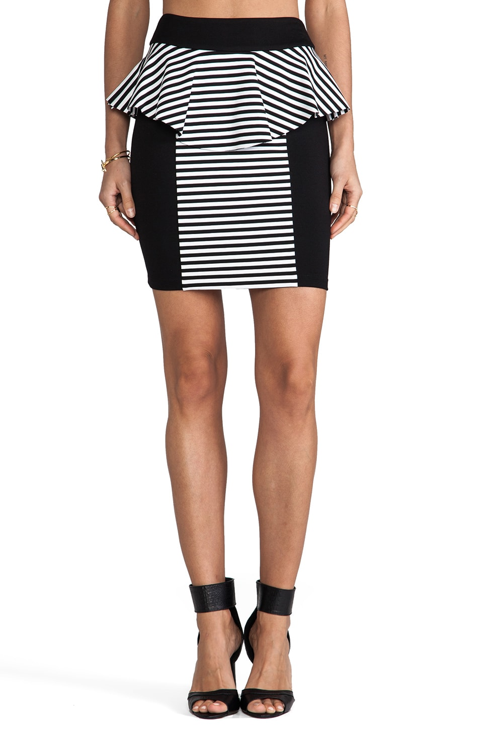 Torn by Ronny Kobo Lisa Skirt in Black/White Stripe