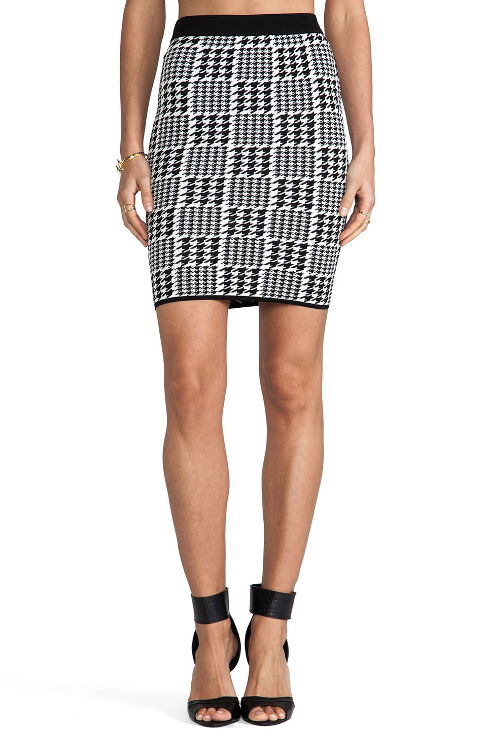 Torn by Ronny Kobo Celine Scottish Plaid Skirt in Black/White