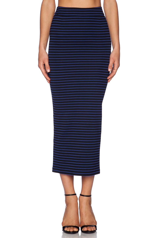 Torn by Ronny Kobo Rori Skirt in Black & Blue Stripe