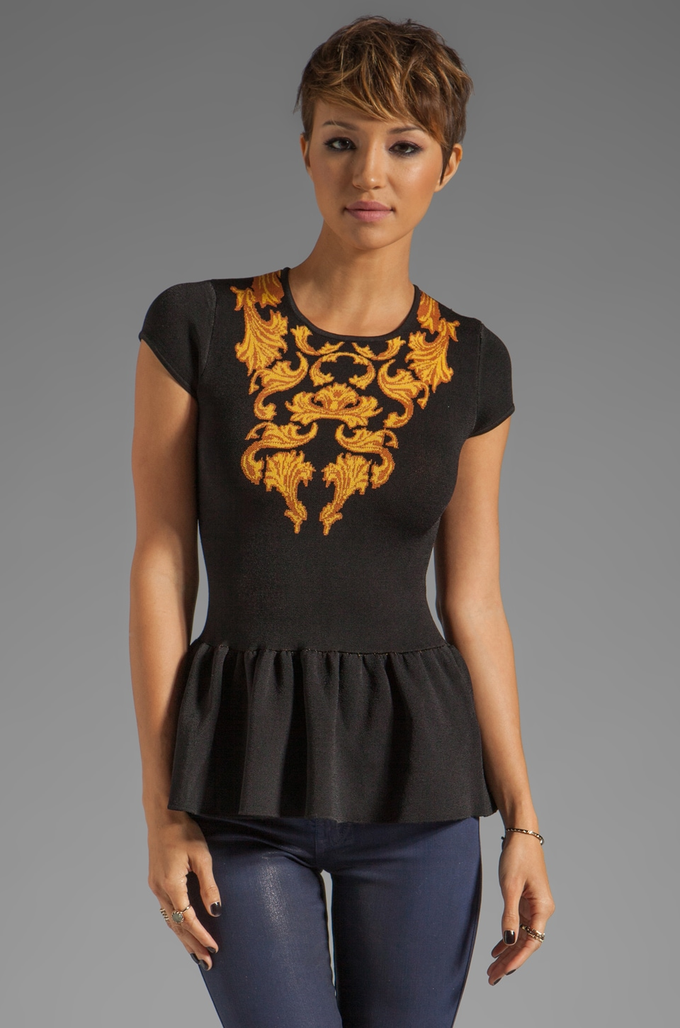 Torn by Ronny Kobo Vivienne Top in Black/Gold
