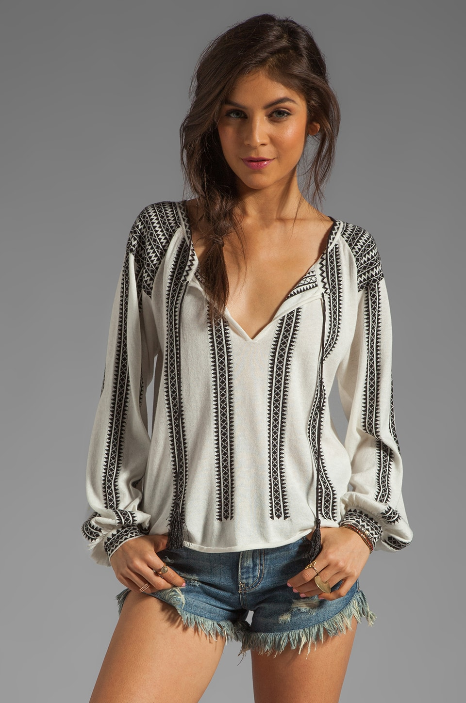 Torn by Ronny Kobo Madeleine Knit Top in Black