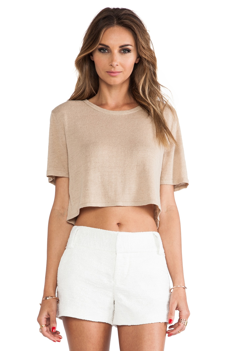 Torn by Ronny Kobo Nira Crop Tee in Natural