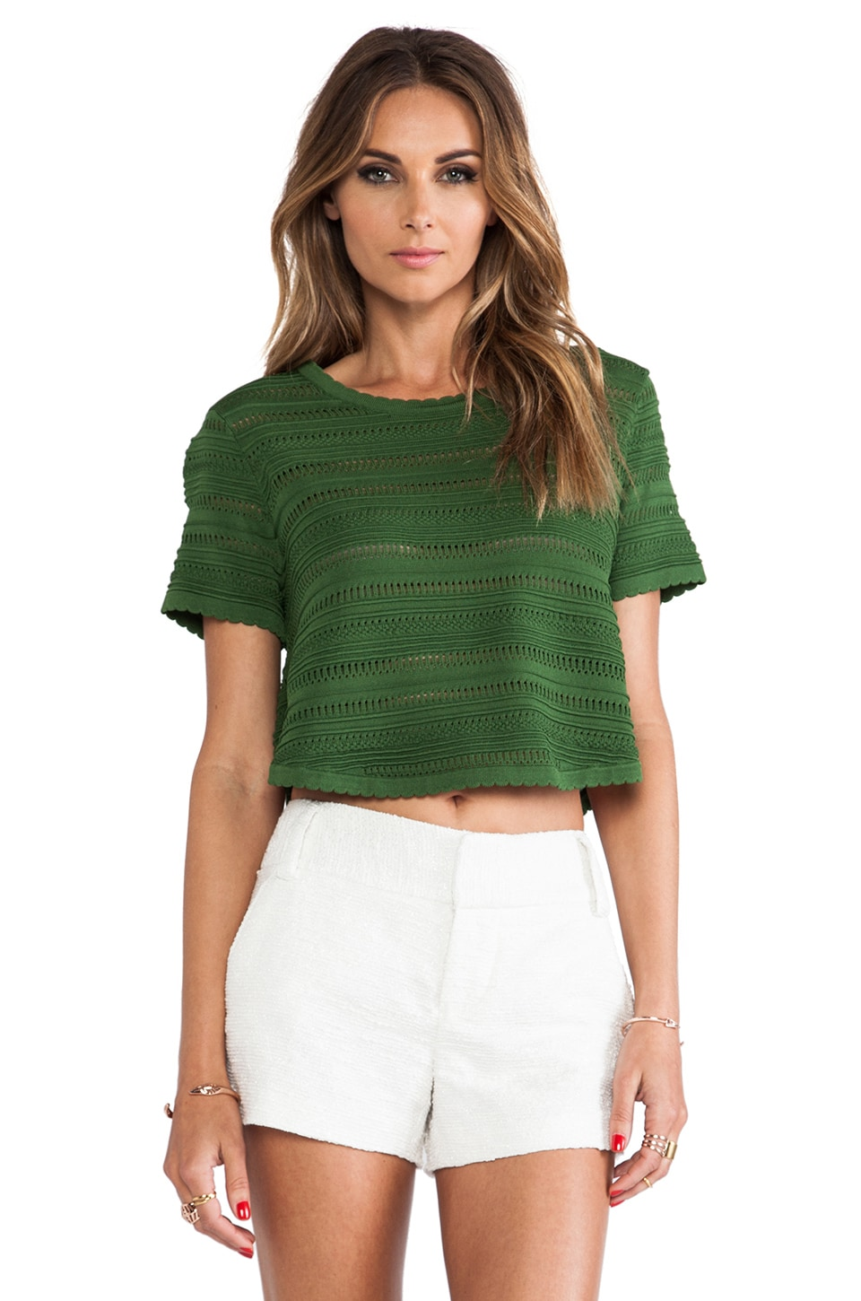 Torn by Ronny Kobo Lena Classic Top in Green
