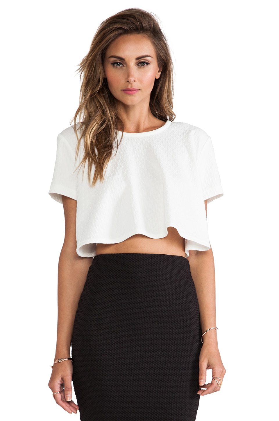 Torn by Ronny Kobo Lena Textured Top in White