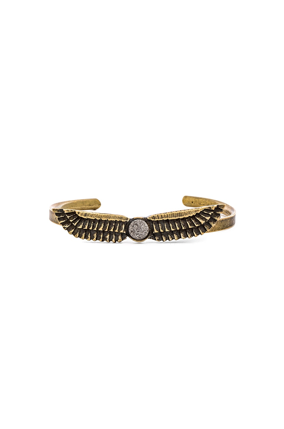 TORCHLIGHT Mini Horus Cuff in Brass with Silver Druzy