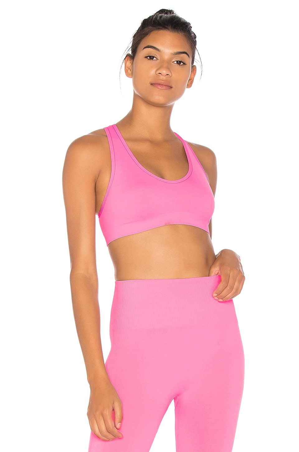 TLA by Morgan Stewart x MORGAN STEWART Cross Back Sports Bra in Pink
