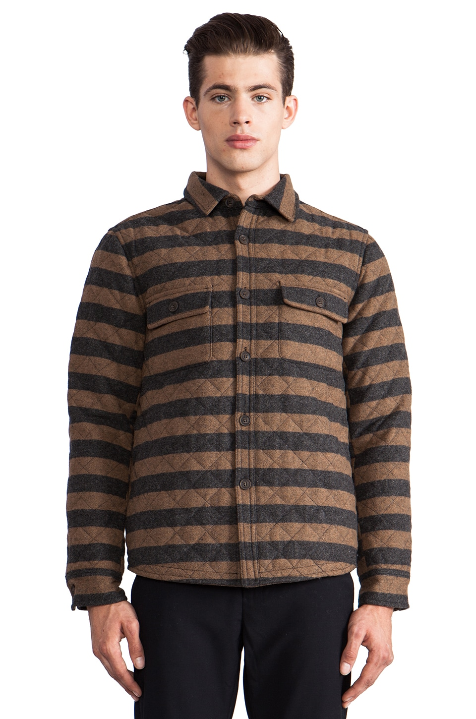 TOVAR Ed Quilted Shirt Jacket in Grey/Mustard Stripe