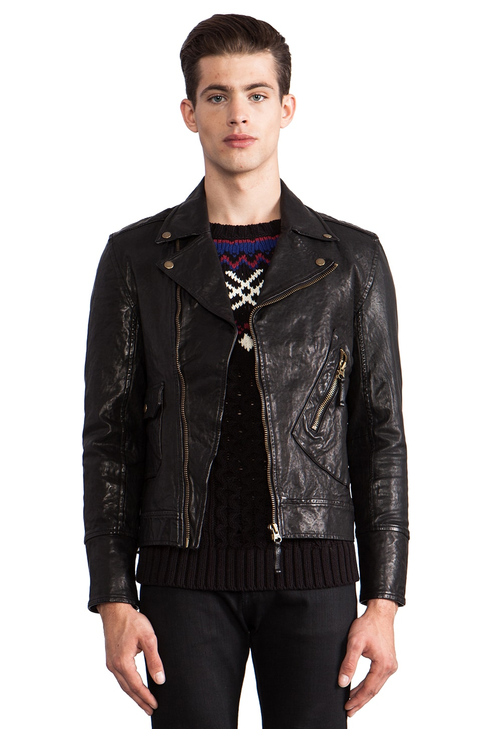 TOVAR Gil Leather Moto Jacket in Black