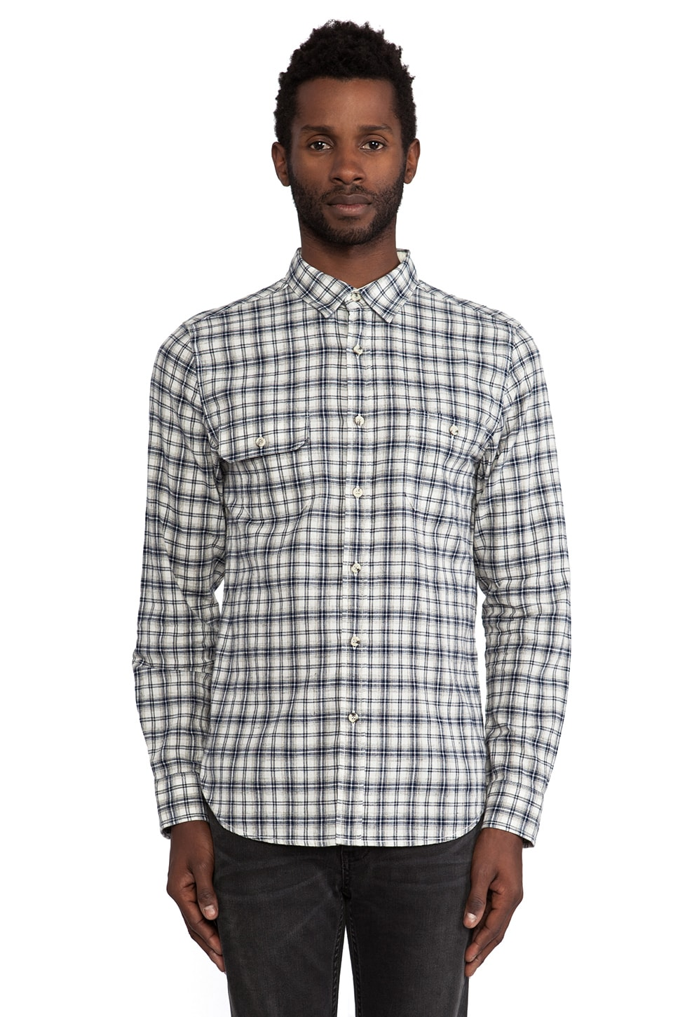 TOVAR Tosh Shirt in White Navy Plaid