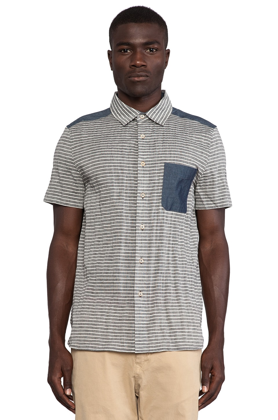 TOVAR Bolan Button Up in Blue Stripe