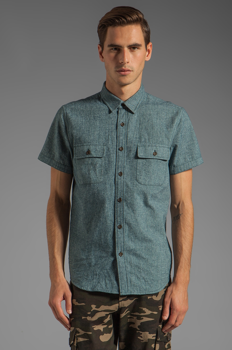 TOVAR Albert Button Up in Teal