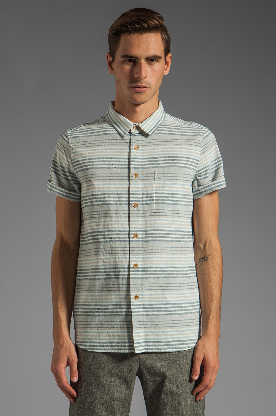 TOVAR Wellinton Button Up in Blue Stripe