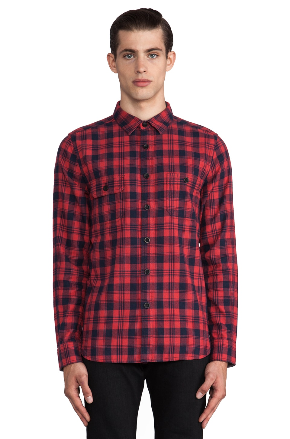 TOVAR Grant Button Down in Red Plaid