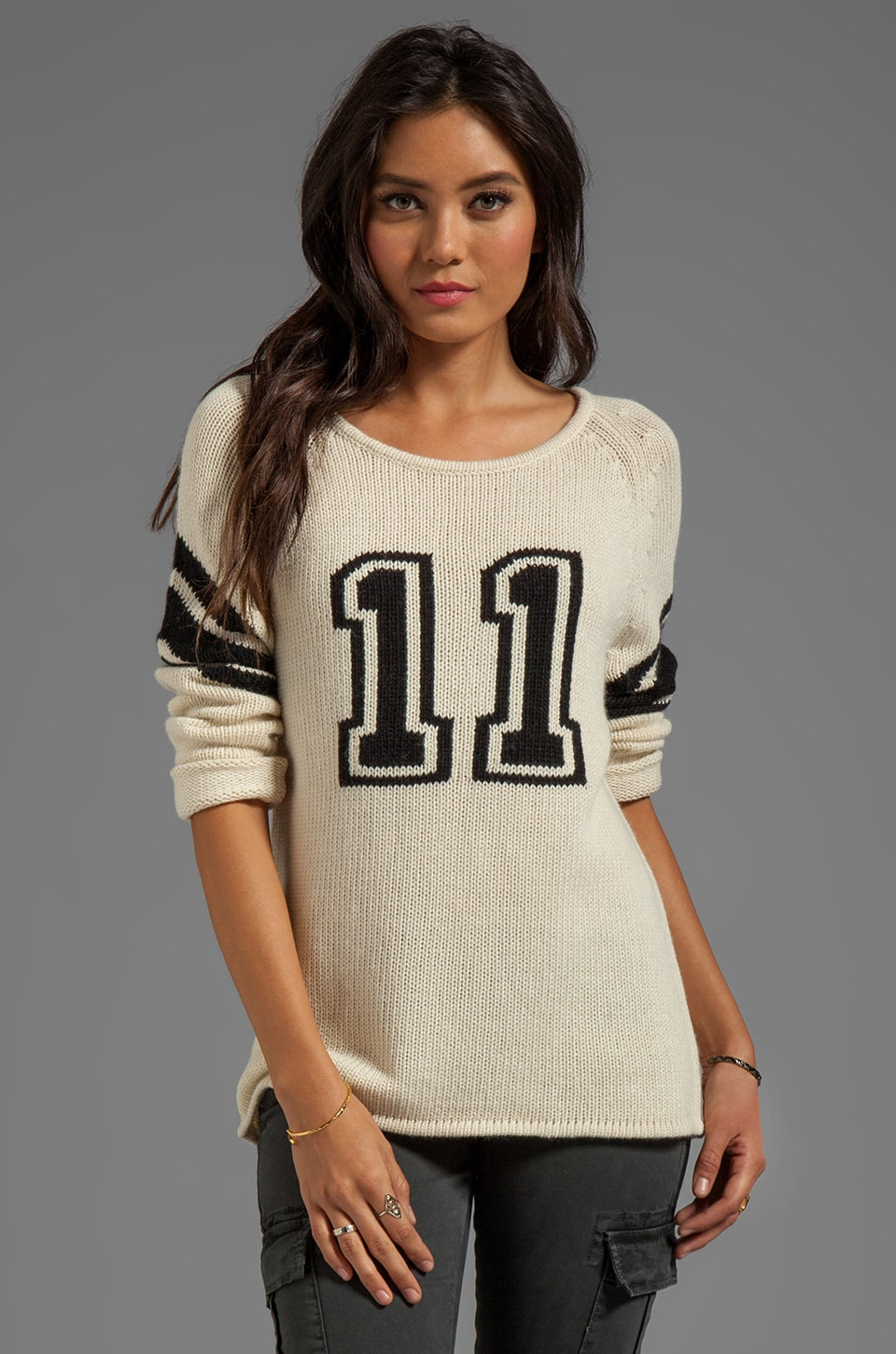 TOWNSEN Varsity Sweater in Cream