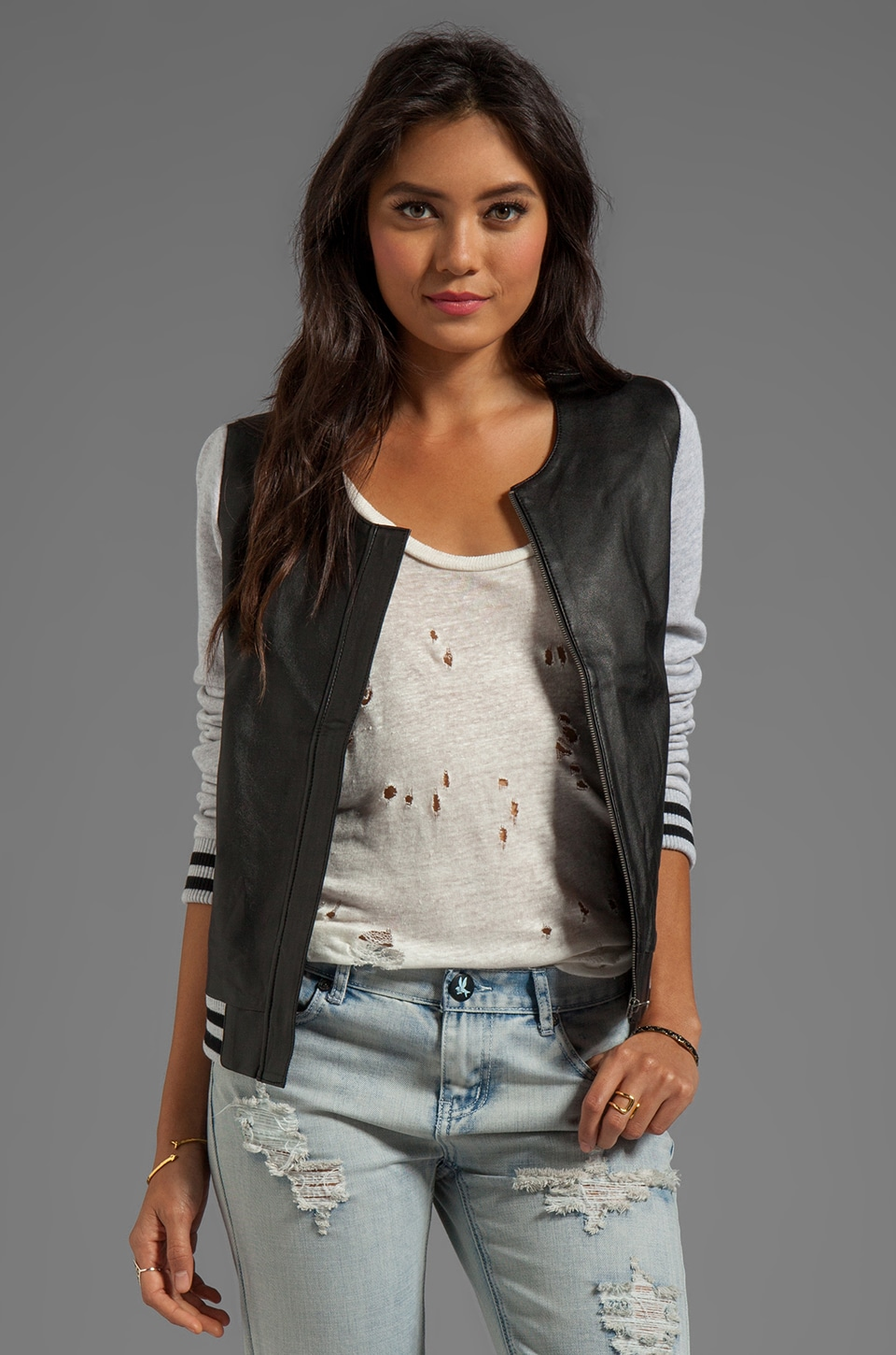 TOWNSEN Leather Bomber Jacket in Black/Heather Grey