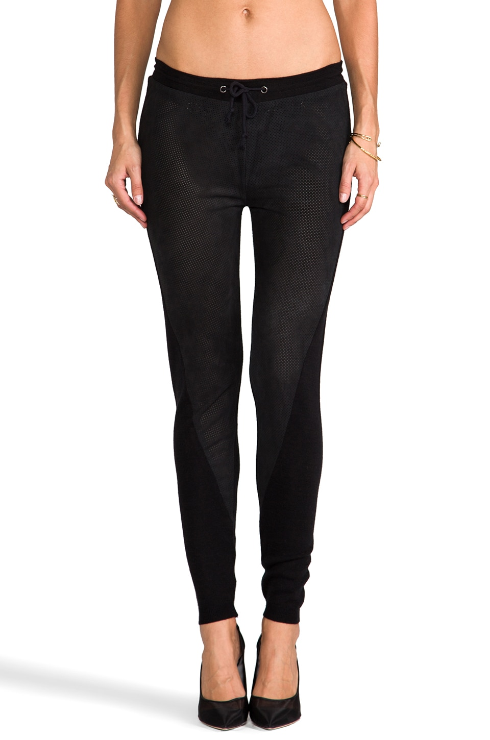 TOWNSEN Perforated Suede Pants in Black