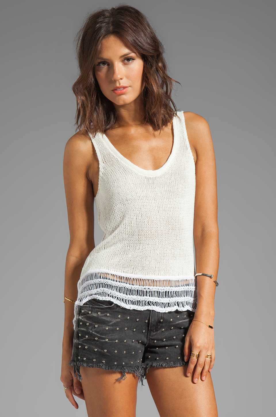 TOWNSEN Bondi Sweater Tank in Natural/White