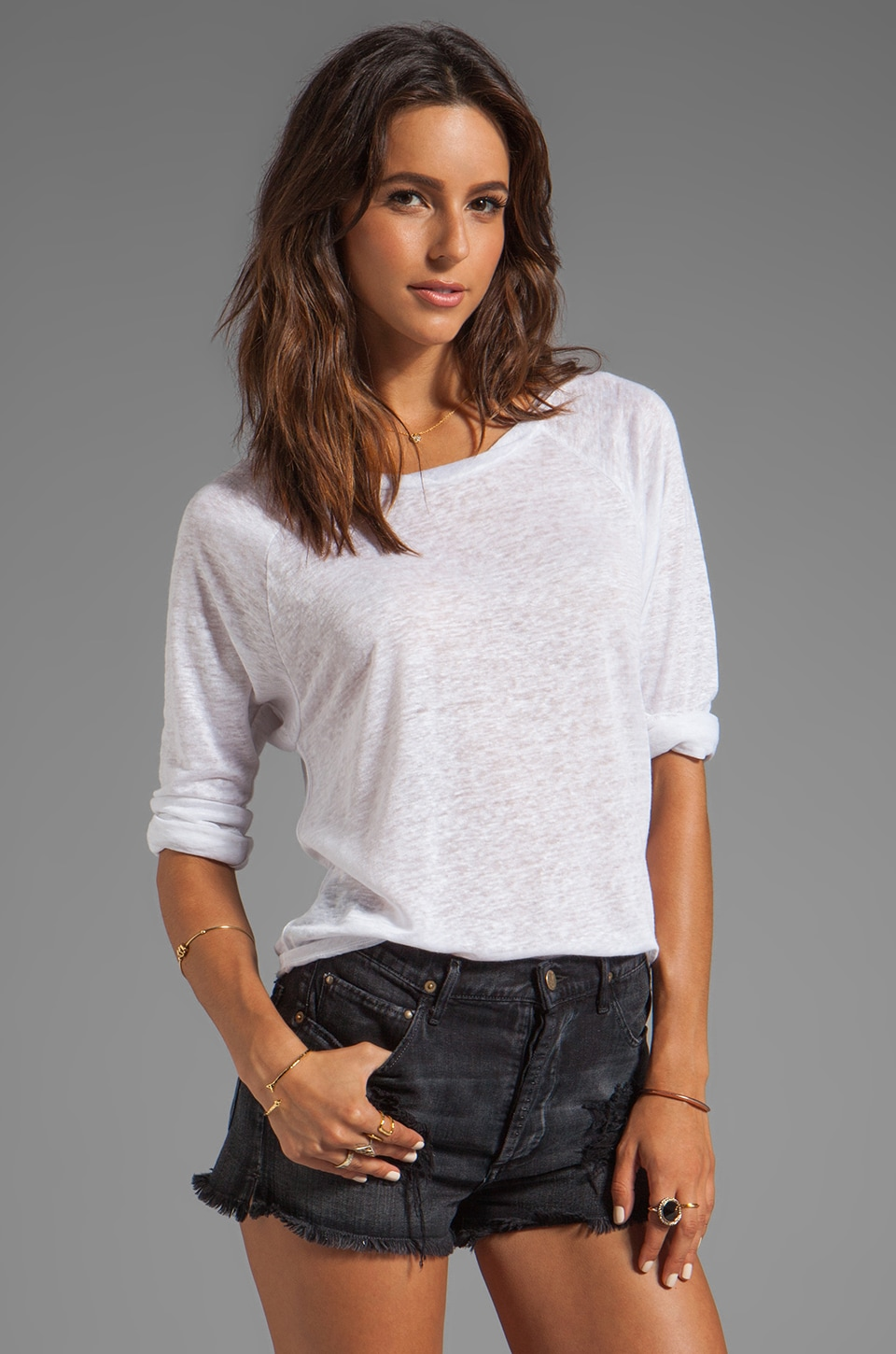 TOWNSEN Sheen Whistler 3/4 Top in White