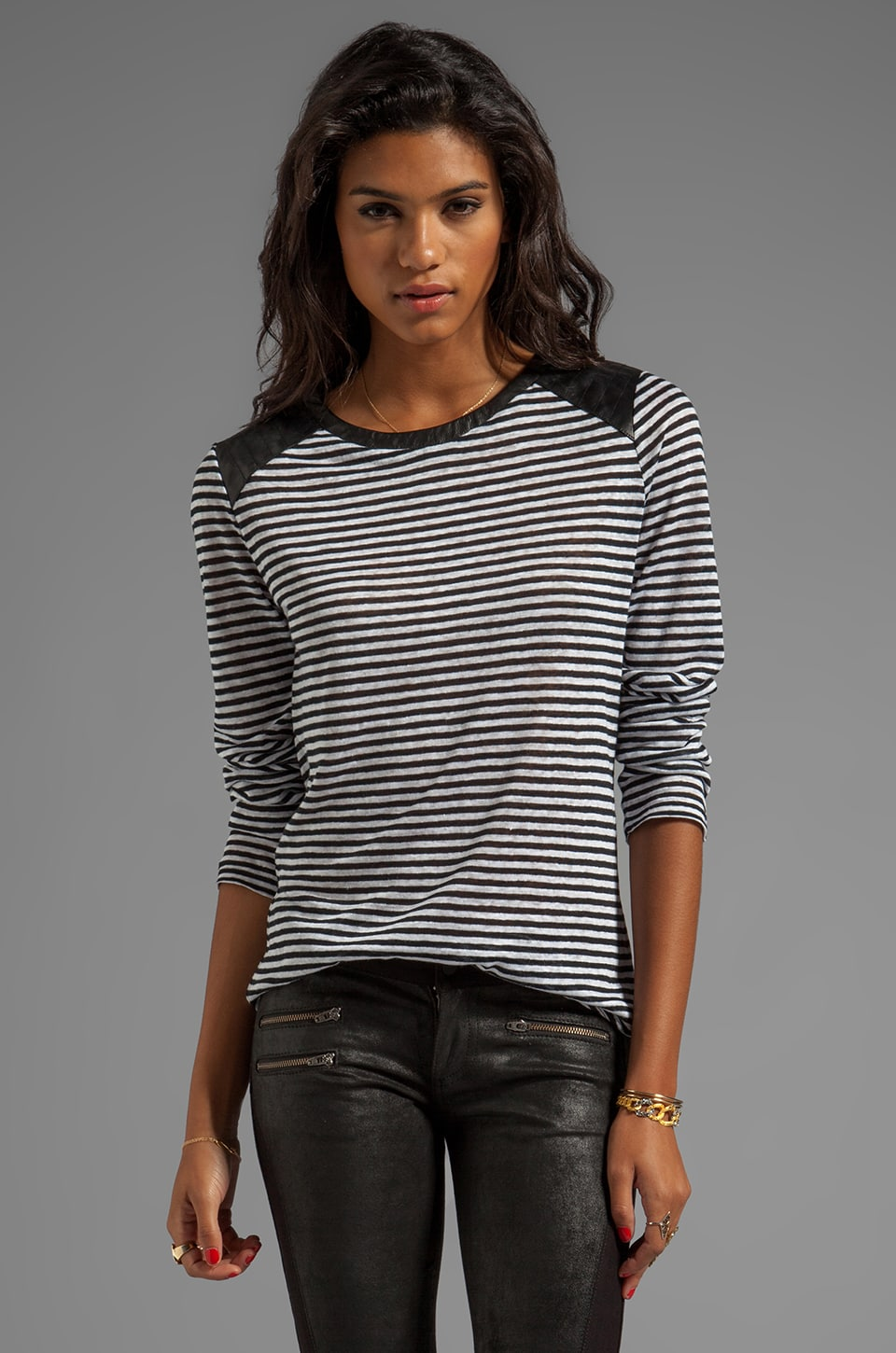 TOWNSEN Seattle Long Sleeve Top in Black/White Stripe