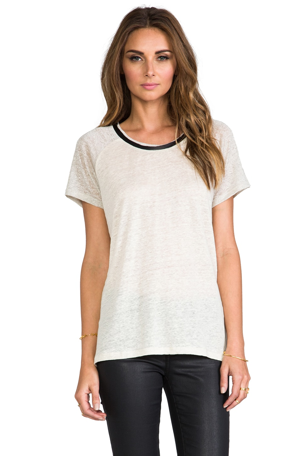 TOWNSEN Light Short Sleeve Raglan Top in Almond