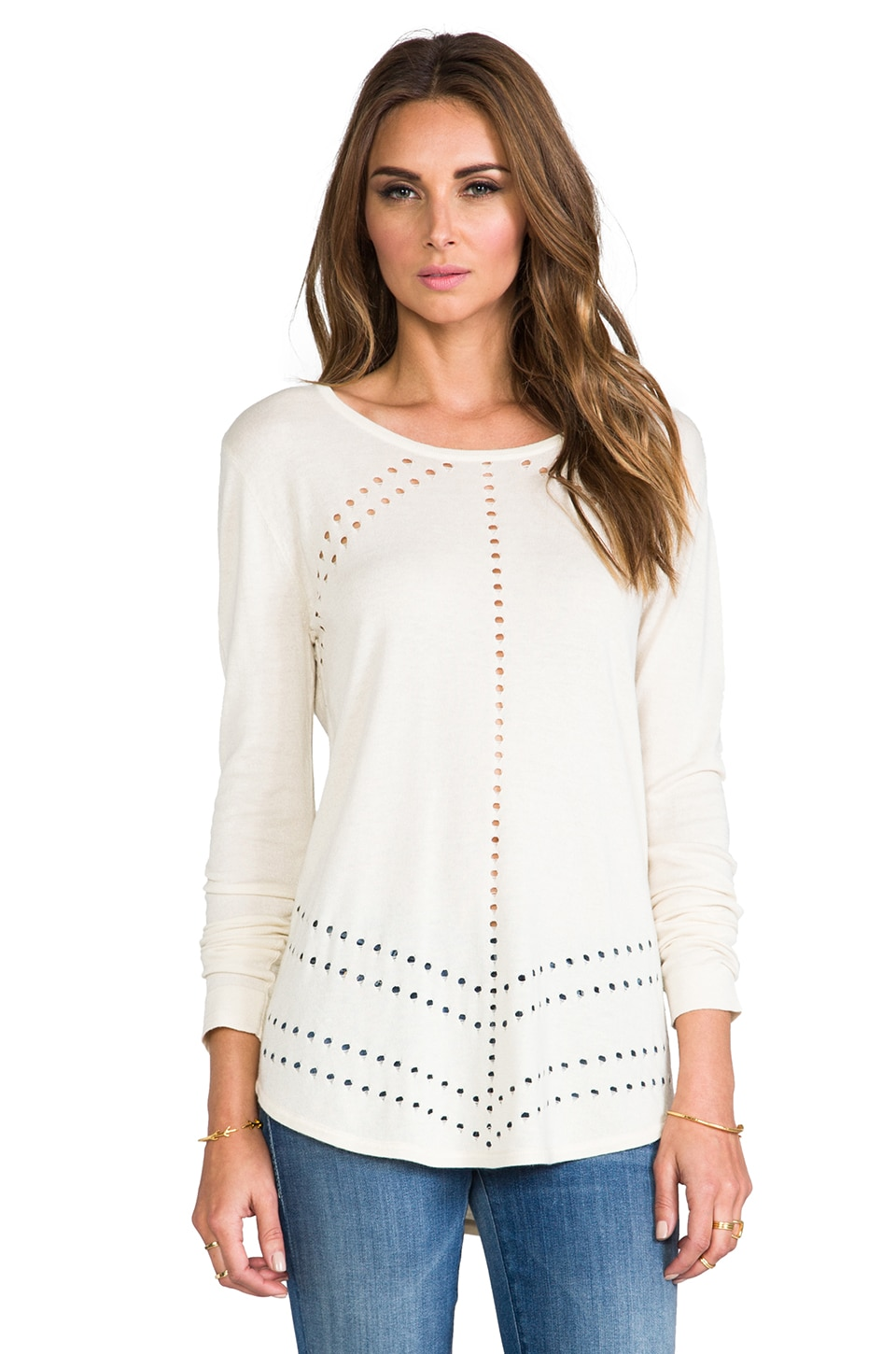 TOWNSEN Puncture Long Sleeve Top in White
