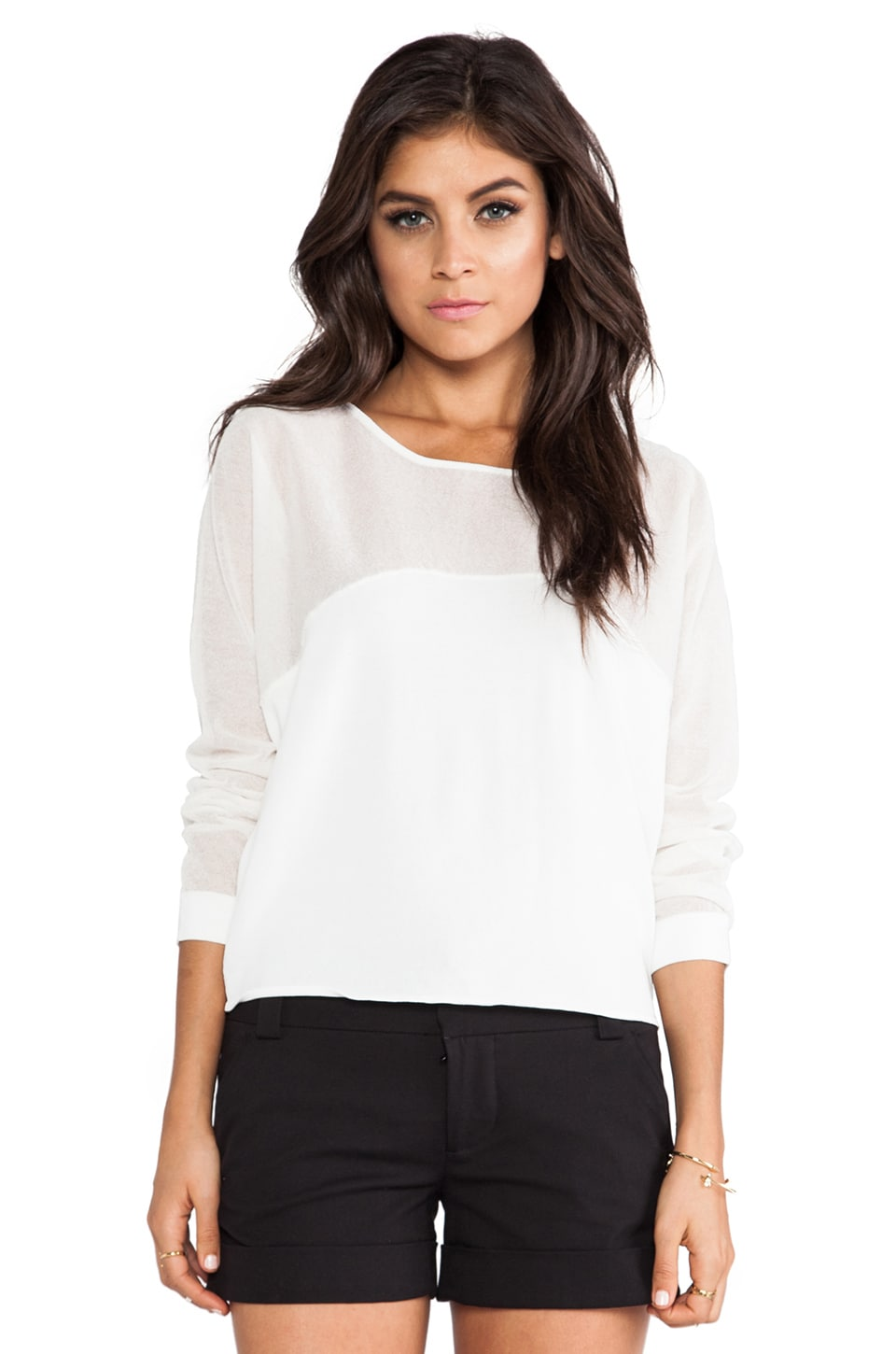 TOWNSEN Half Moon Long Sleeve Top in White