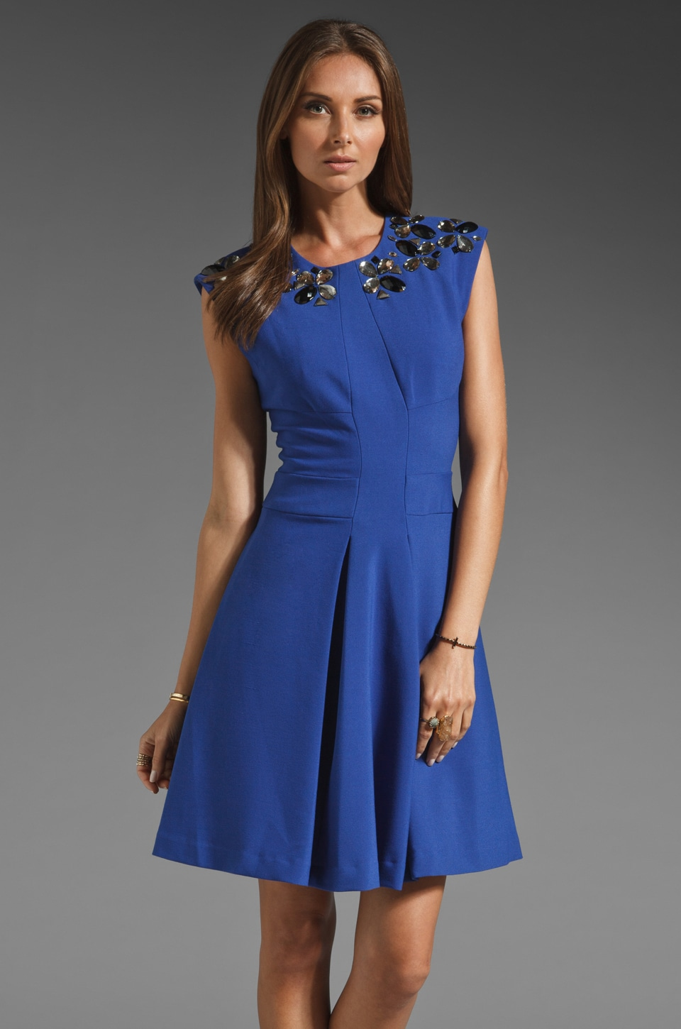 Tracy Reese Wide Awake Stretch Double Face Frock with Necklace Dress in Cobalt