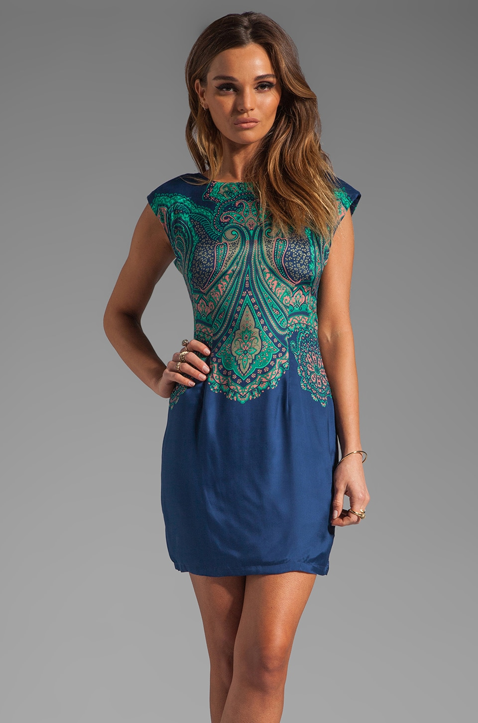 Tracy Reese Wide Awake Foulard Placement V Back Shift Dress in Cobalt