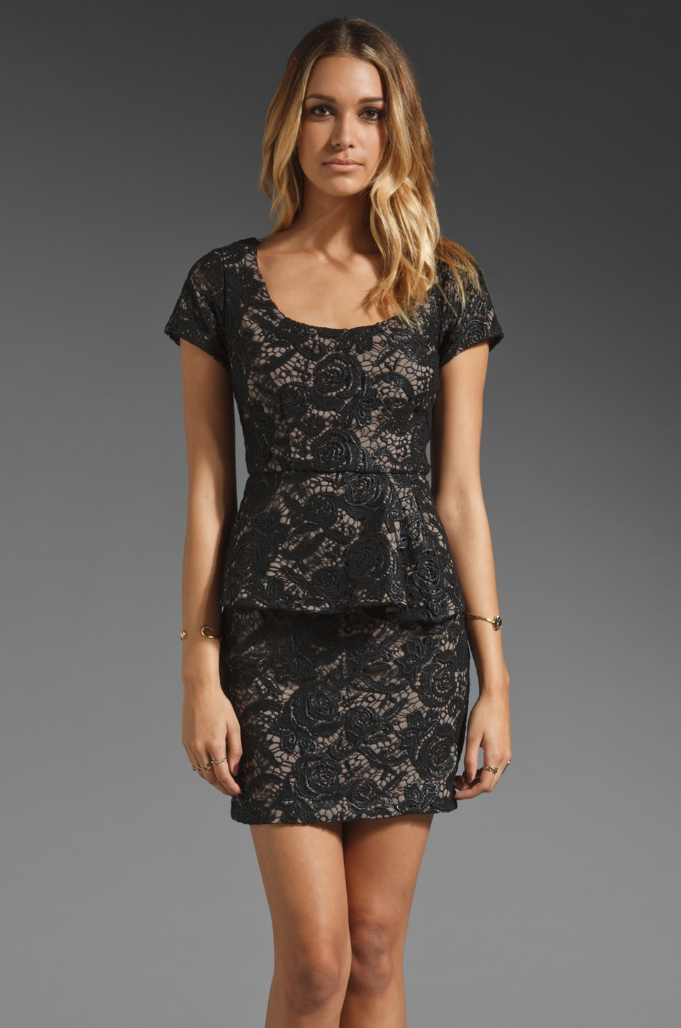 Tracy Reese Wide Awake Guipure Lace Peplum Shift Dress in Black