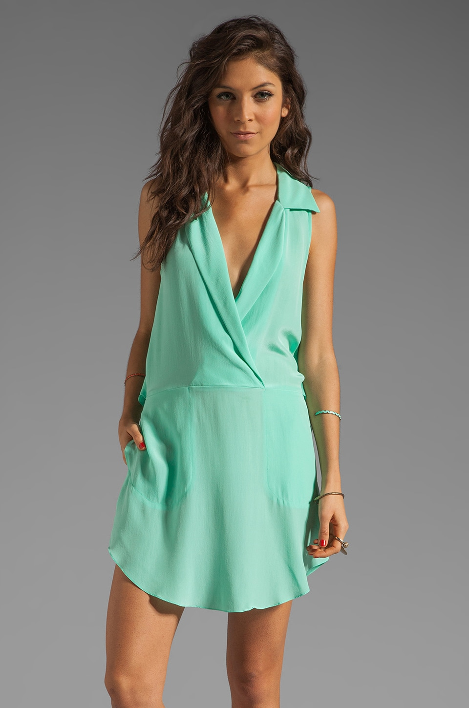 Tracy Reese RUNWAY Soft Solids Surplice Shirtdress in Beach Glass
