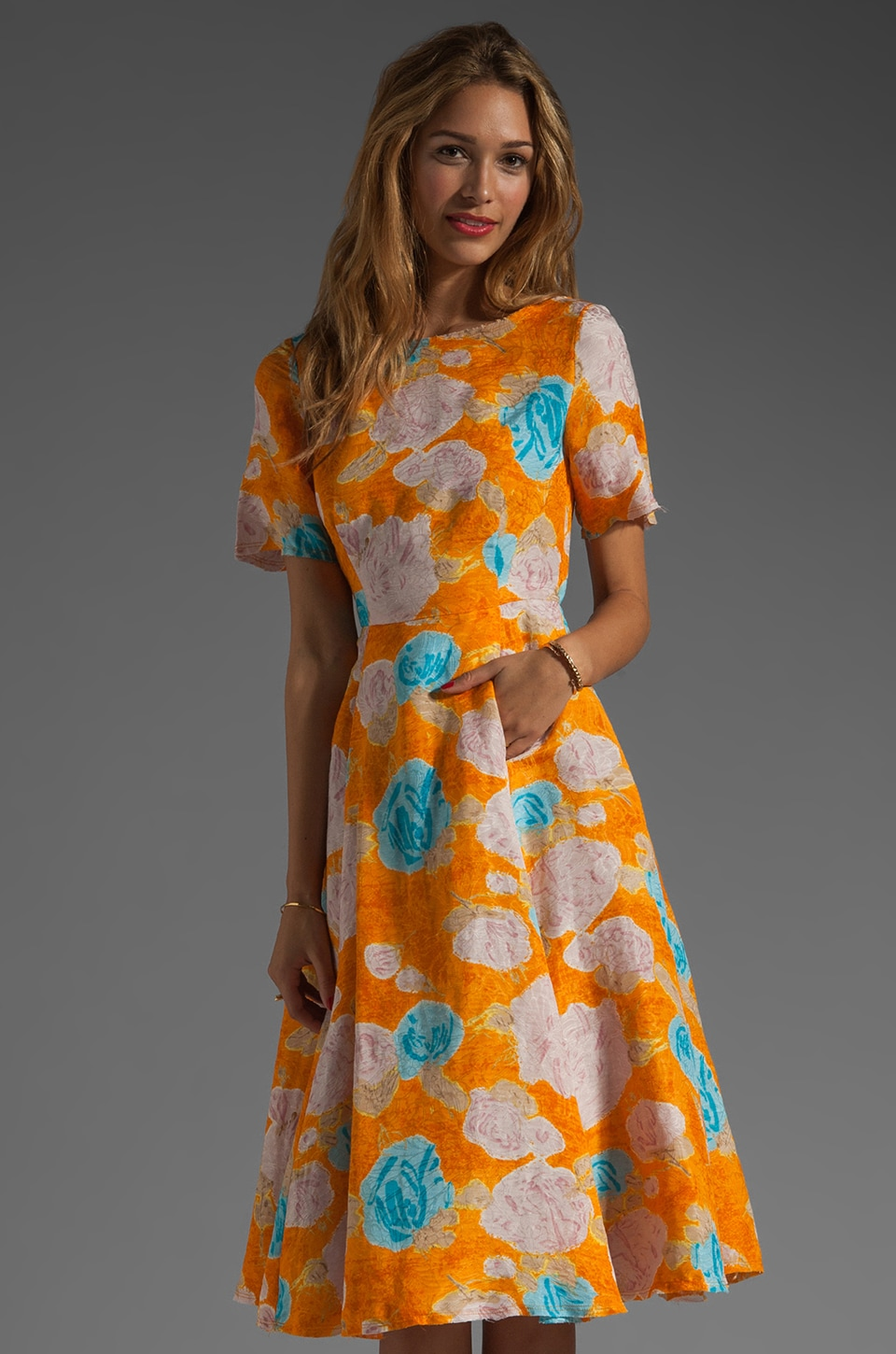 Tracy Reese Jacquard Deconstructed Frock in Floral