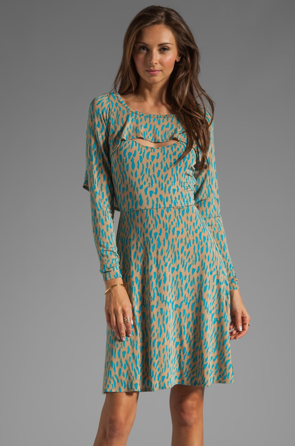 Tracy Reese Printed Jersey Bolero Dress in Latte/Vivid Blue