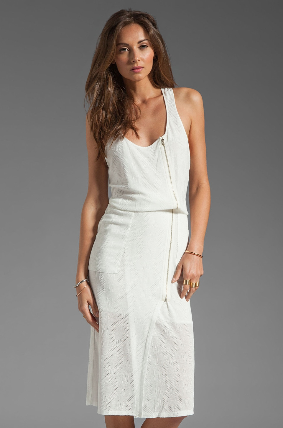 Tracy Reese Cable Jersey Tank Dress in Whitewash