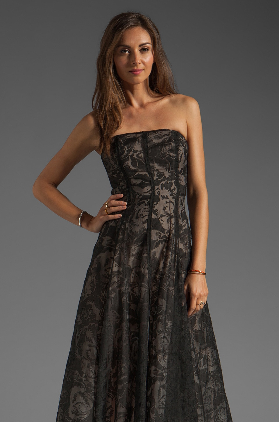 Tracy Reese Burnout Floral w/ Gauze Deconstructed Strapless Dress in Black