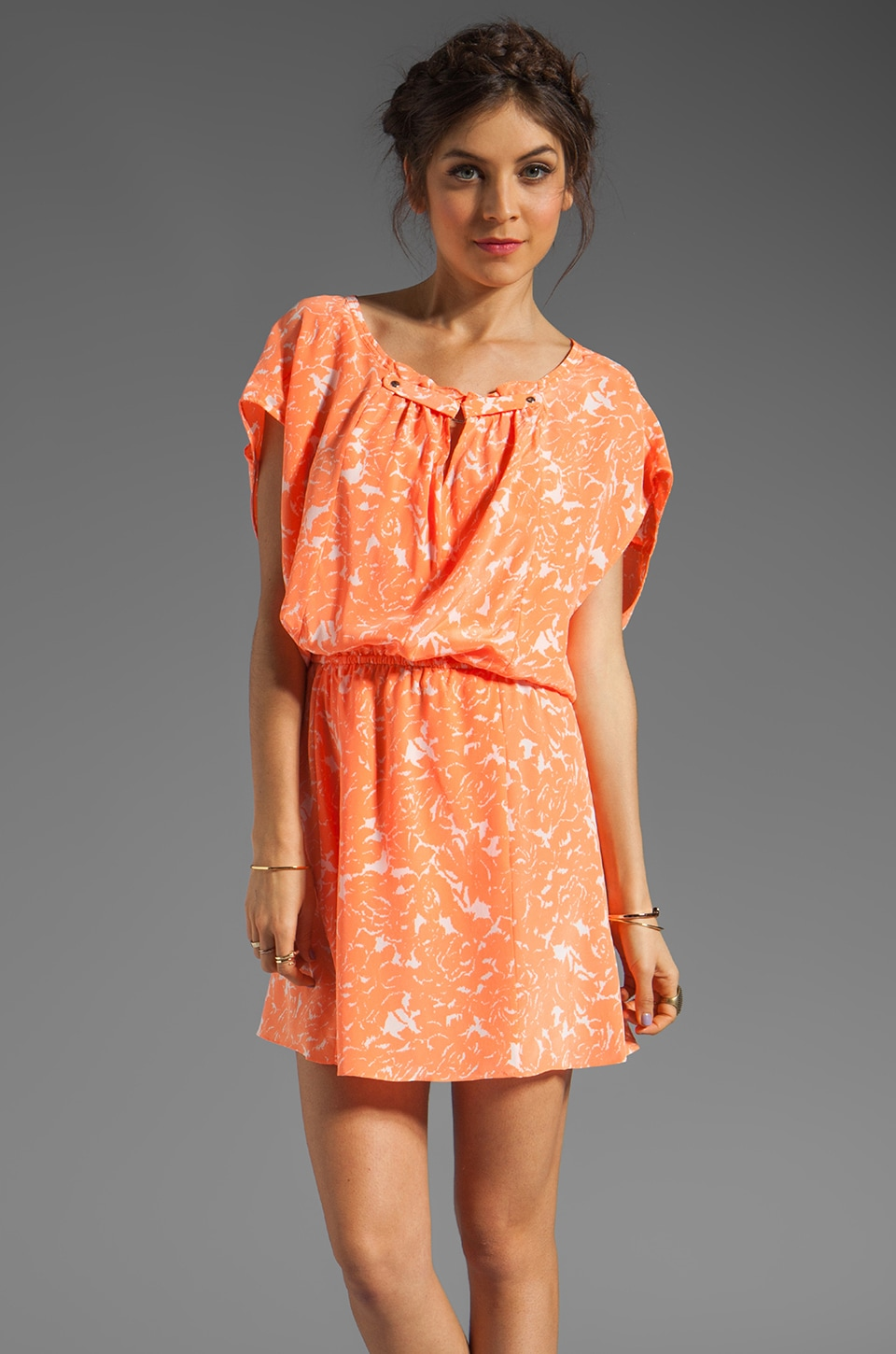Tracy Reese Wallpaper Floral Silk Print Mini Cocoon Dress in Phosphorescent Flesh
